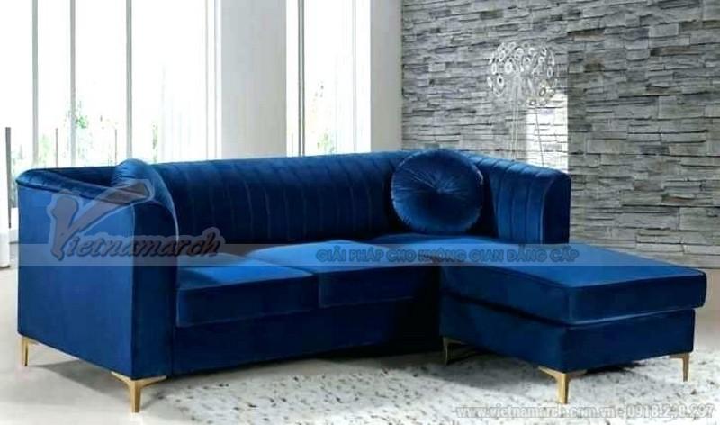 Mẫu sofa văng mini rất hợp cho phòng khách nhỏ gọn. Màu xanh lam đậm rất nổi bật tạo nên nét trẻ trung hiện đại căn phòng.
