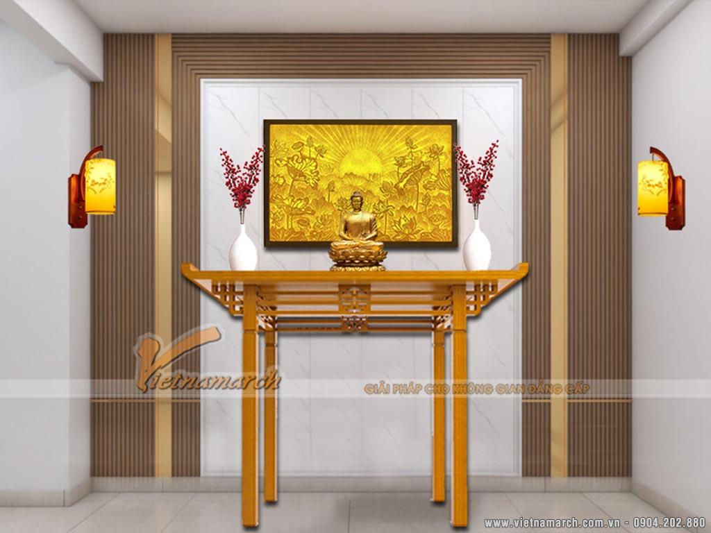 Mẫu vách ngăn CNC bằng gỗ công nghiêp sơn PU màu trắng làm nổi bật không gian thờ cúng.