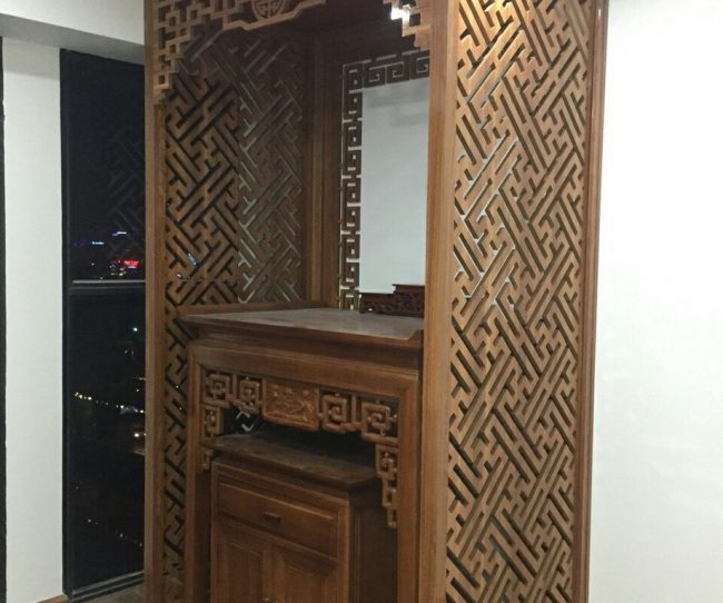 Mẫuvách ngăn CNC phòng thờ bằng gỗ cho chung cư, nhà đẹp