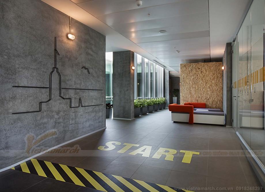 Thiết kế lối vào co-working space mang dấu ấn công ty rõ nét