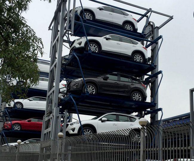 Bãi đỗ xe thông minh 8 chỗ là một dàn đứng có 8 vị trí chia đều 2 bên chứa được ô tô từ 7 chỗ ngồi
