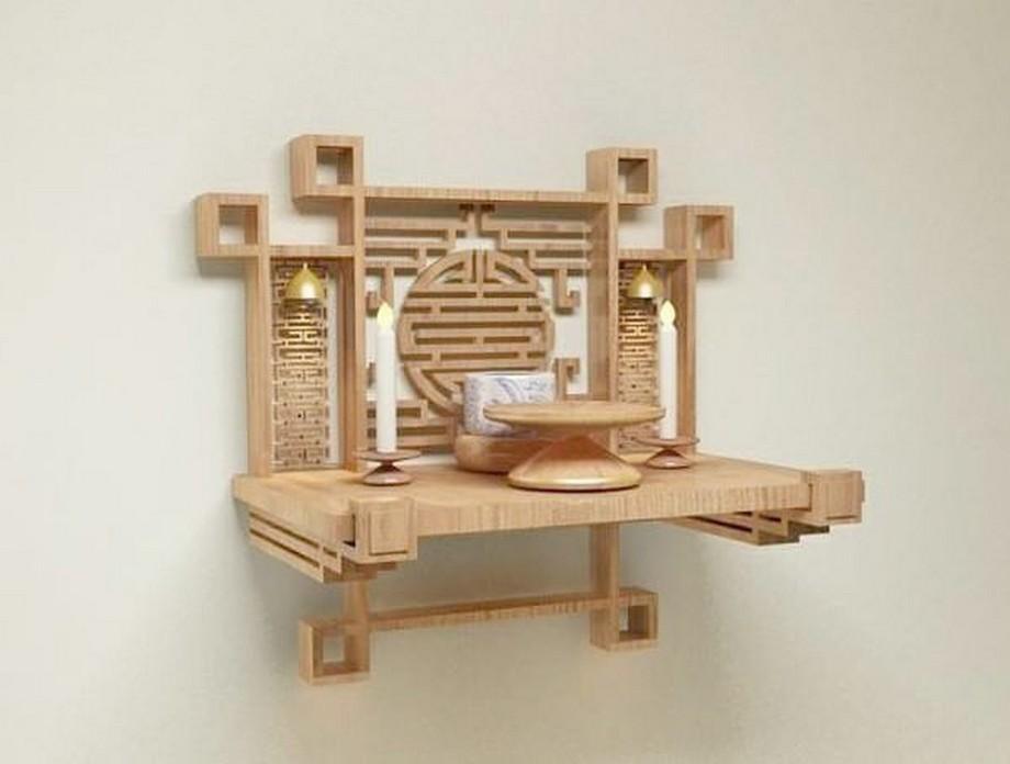 mẫu bàn thờ Phật treo tường nhỏ đẹp được sử dụng phổ biến trong những căn hộ gia đình có diện tích nhỏ