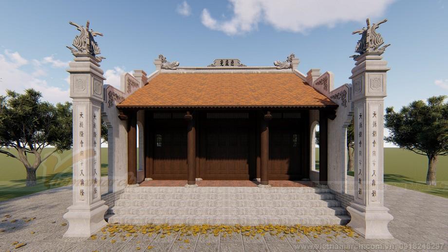 Hồ sơ thiết kế 3D nhà thờ họ 3 gian 2 mái Hà Nam