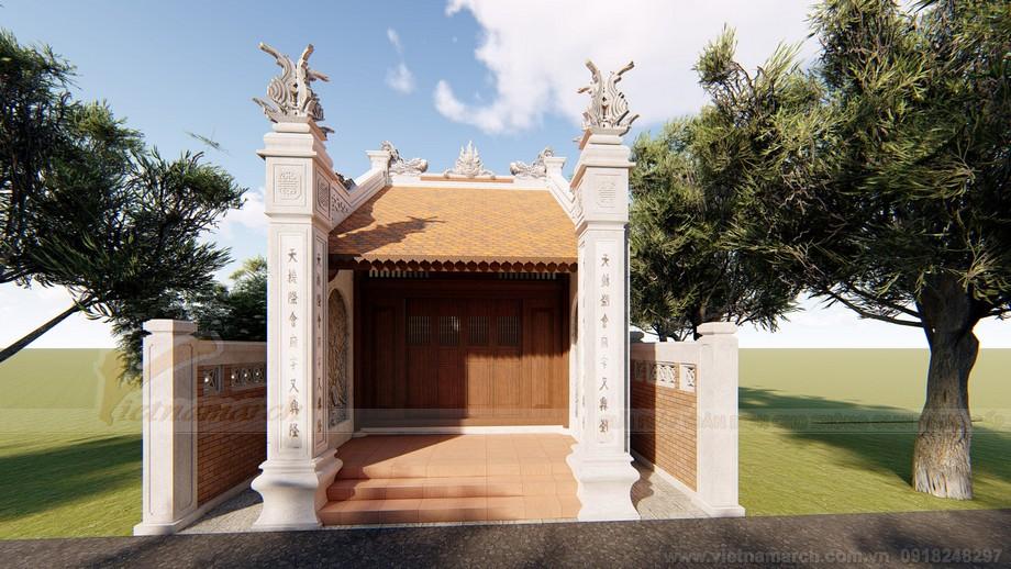 Bản vẽ thiết kế 3D nhà thờ họ 1 gian Sơn La