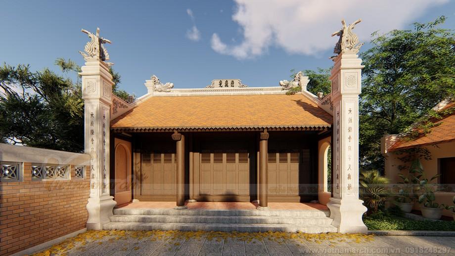Chi tiết bản vẽ thiết kế 3D nhà thờ họ 3 gian 2 mái kết hợp nhà ở họ Vũ Quảng Bình