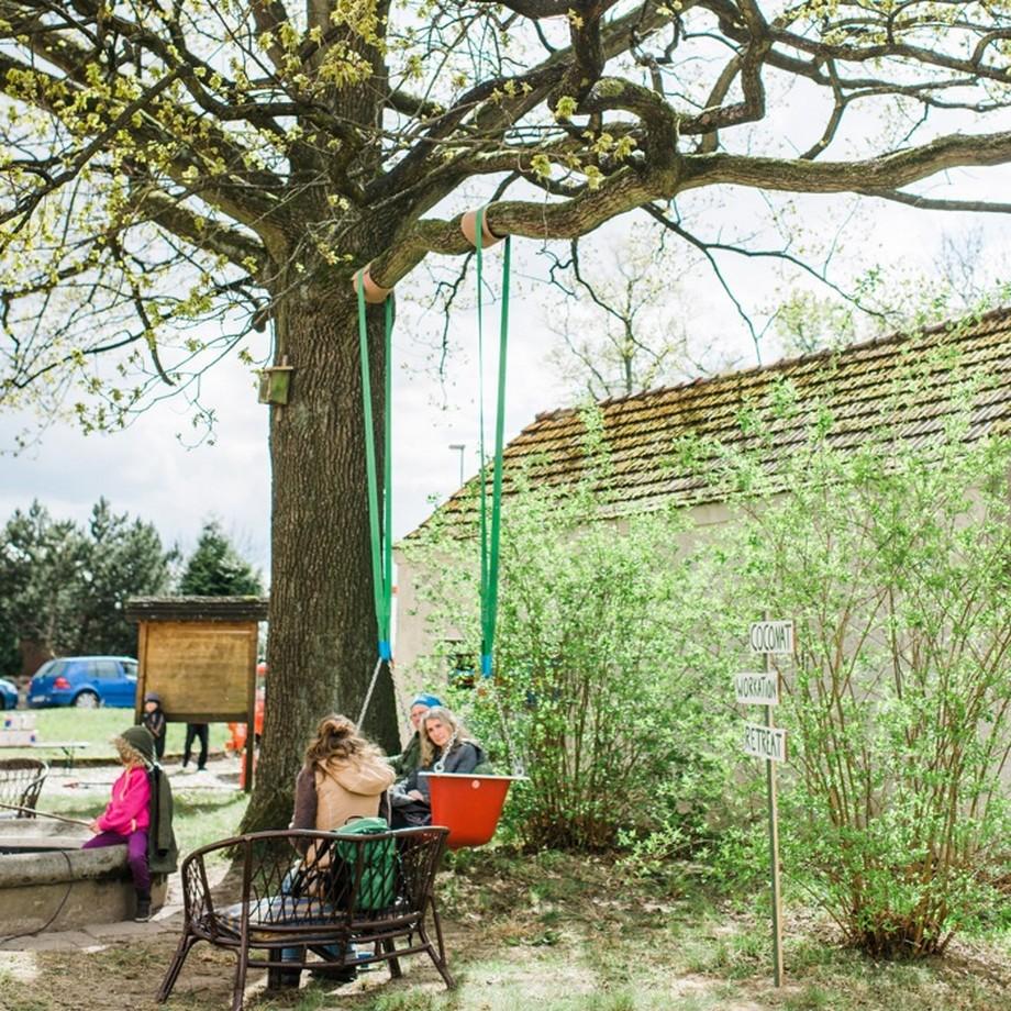 Không gian trao đổi công việc kết hợp thư giãn ngoài trời với chiếc ghế băng treo dưới cây sồi