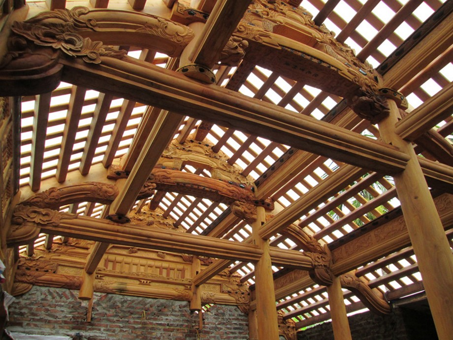 nhà thờ họ bằng gỗ mít 5 gian hiên thông