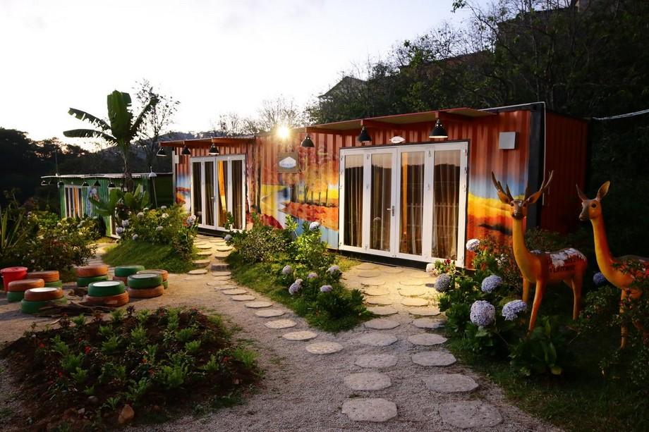 Nhà container Đà Lạt trang trí với khu rừng mùa thu vàng