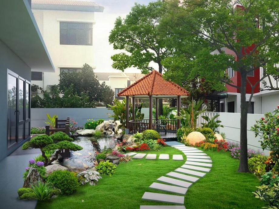 Nhà gỗ lục giác trong khuôn viên sân vườn ấn tượng