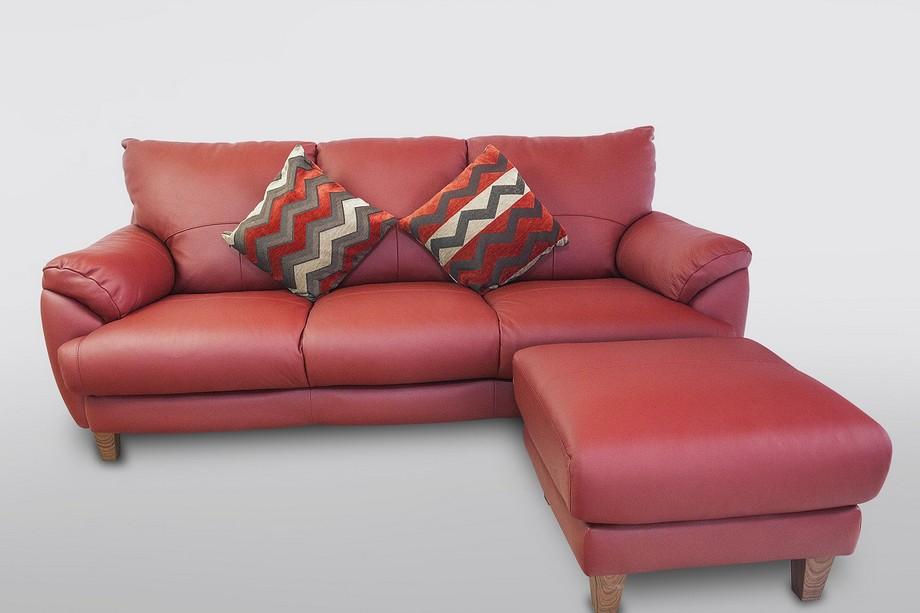 Sofa góc da nhập khẩu Nhật Bản tông màu đỏ nổi bật, hiện đại