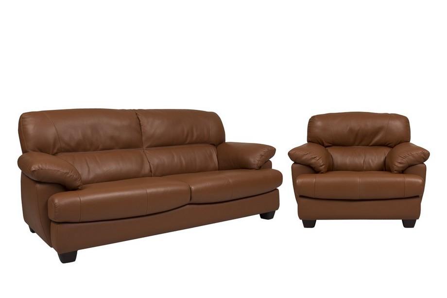 Bộ sofa văng da nhập khẩu Nhật Bản màu nâu sang trọng kết hợp với sofa đơn