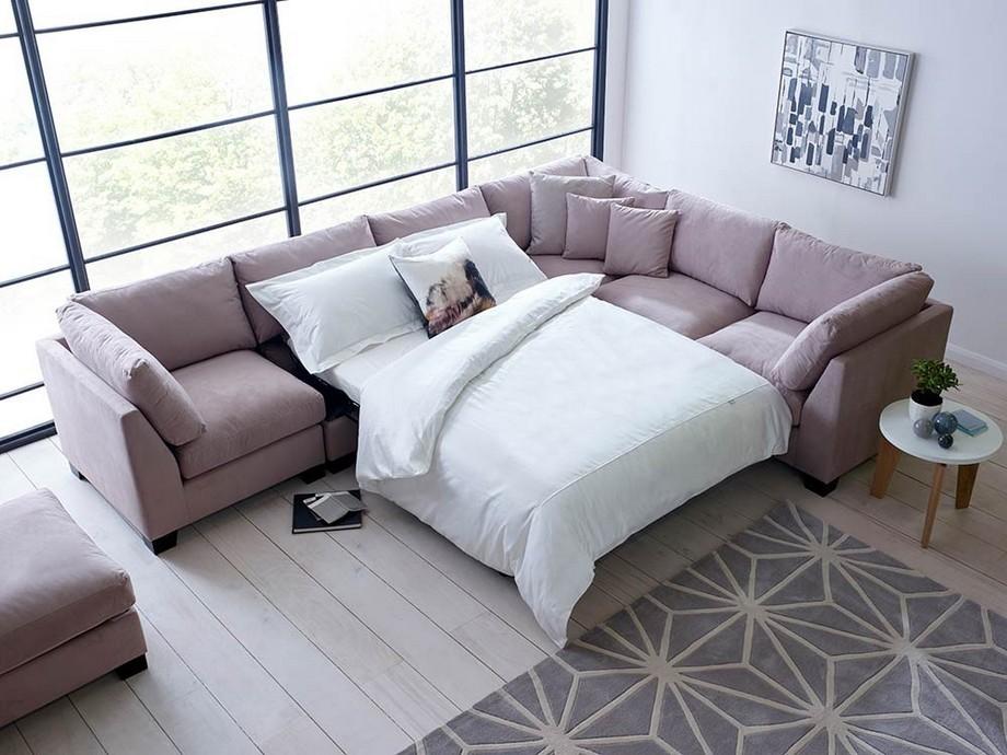 Mẫu sofa góc giường vải nỉ