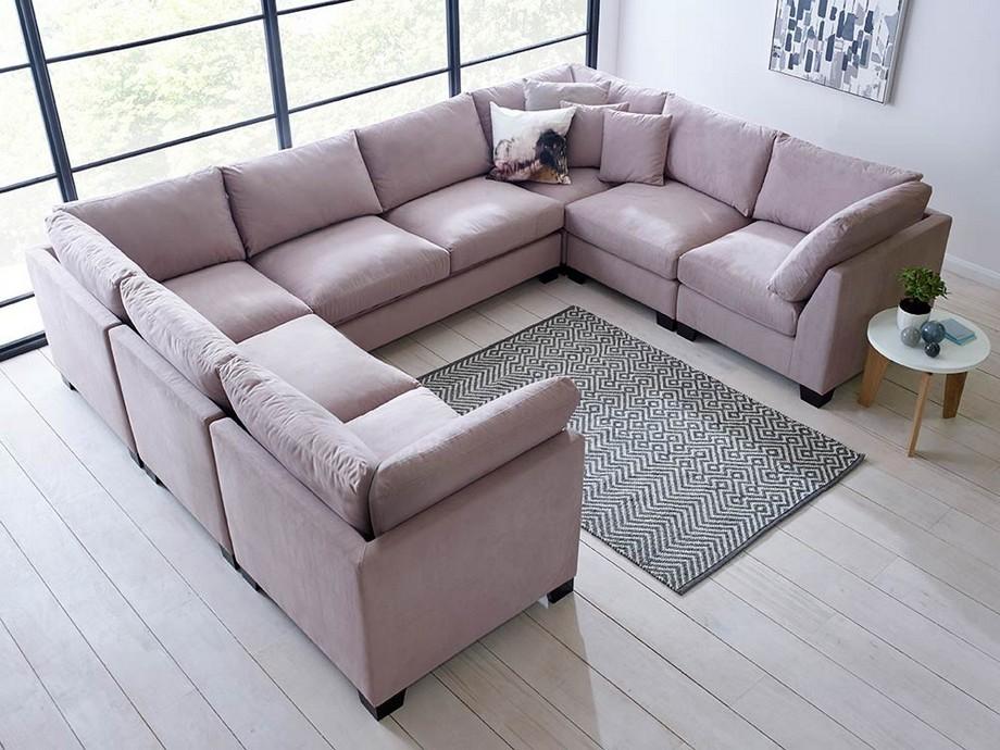 Mẫu sofa góc giường vải nỉ màu hồng