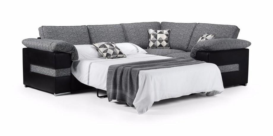 Mẫu sofa góc giường bằng vải nỉ màu xám sang trọng
