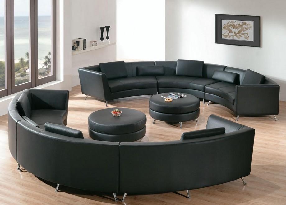 Mẫu sofa góc tròn da mang đến cho bạn một không gian sống sang