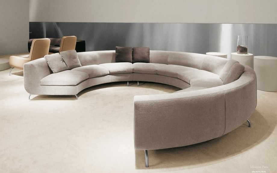 Sofa góc tròn đã tạo nên mảng ghép nội thất