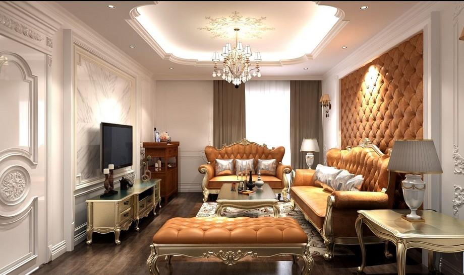 Phòng khách với sofa tân cổ điển