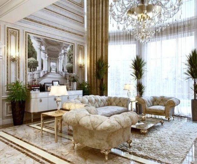 bừng sáng với bộ sofa tân cổ điển mạ vàng màu kem này