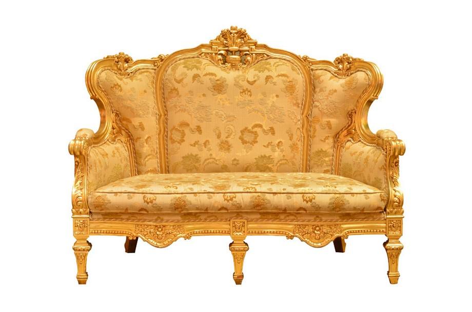 Mẫu vải gấm bọc sofa phong cách cổ điển màu vàng sang trọng