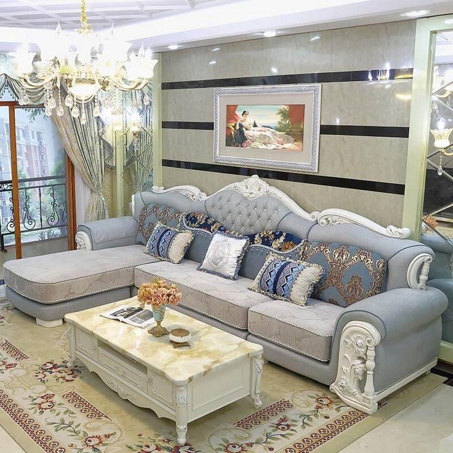 Thảm sofa nhập khẩu Đức họa tiết cổ điển khi kết hợp với ghế sofa, bàn trà
