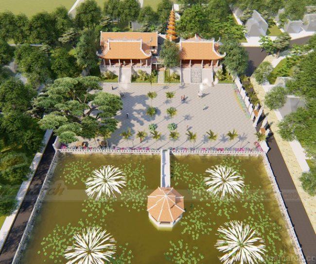 Bao quanh thiết kế chùa là khuôn viên với hàng dừa thẳng tắp hiên ngang