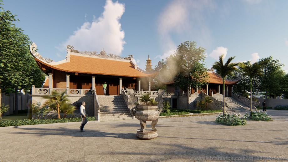 Kết cấu của hai phần chùa sát cạnh nhau tương tự như nhau