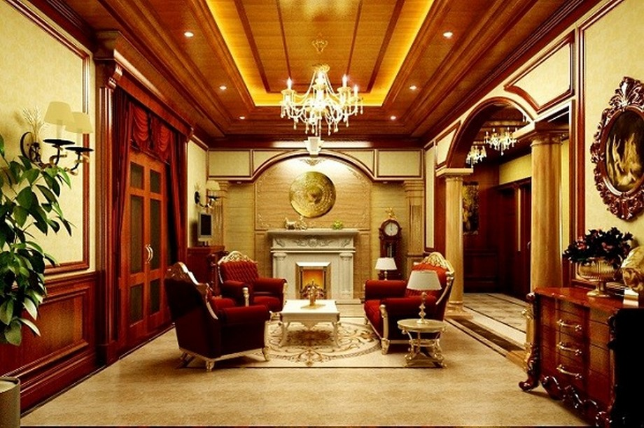 Trần nhà gỗ xoan đẹp phong cách tân cổ điển