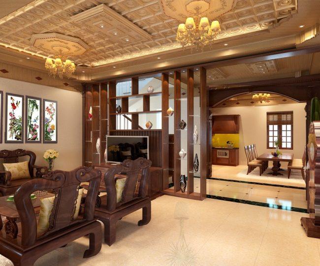 Không gian phòng khách sang trọng cùng mẫu trần nhà gỗ xoan ta đẹp theo phong cách tân cổ điển