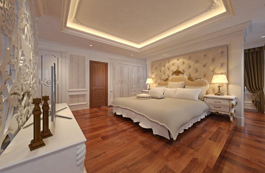 Mẫu trần thạch cao phòng ngủ cho cặp đôi trung niên dạng giật cấp đơn giản