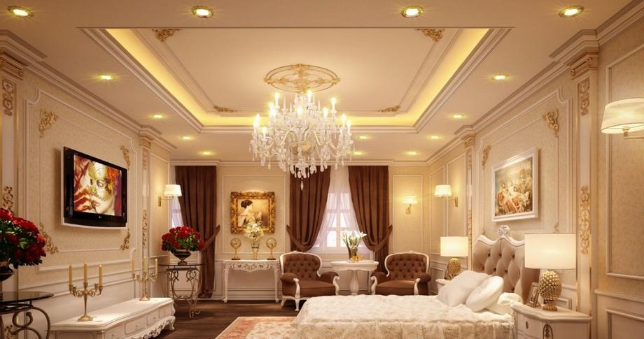 Mẫu trần thạch cao phòng ngủ cho cặp đôi trung niên sơn nhũ vàng đẳng cấp, sang trọng
