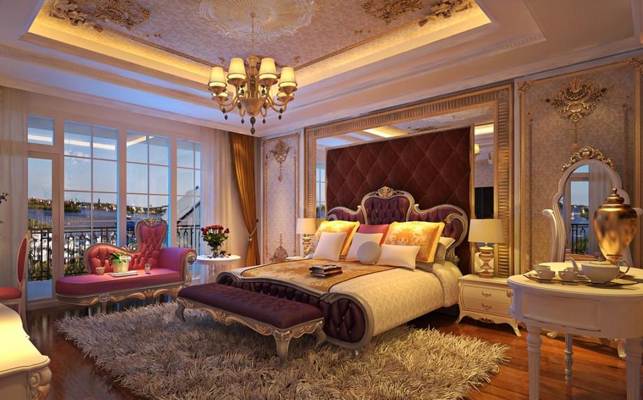Mẫu trần thạch cao phòng ngủ cho cặp đôi trung niên với các đường phào chỉ tinh xảo, ấn tượng