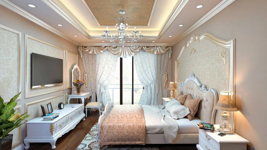 Mẫu trần thạch cao phòng ngủ cho cặp đôi trung niên nhà ống sơn nhũ vàng đẹp mắt