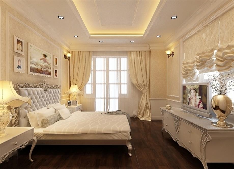 Mẫu trần thạch cao giật cấp đơn giản cho phòng ngủ cặp đôi trung niên