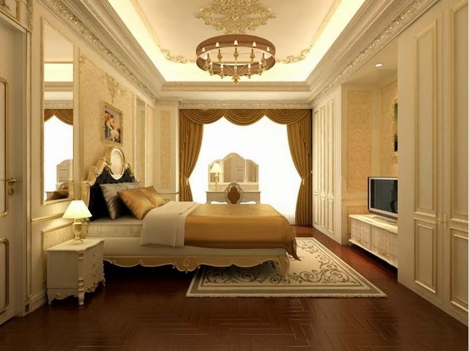 Mẫu trần thạch cao phòng ngủ cho cặp đôi trung niên ấm cúng