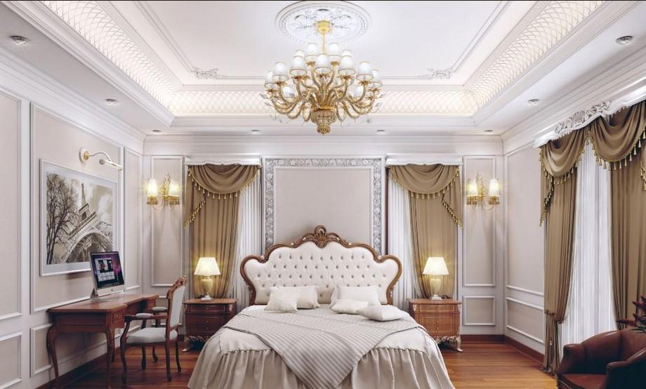 Mẫu trần thạch cao phòng ngủ cho cặp đôi trung niên với các đường phào chỉ trang trí ấn tượng