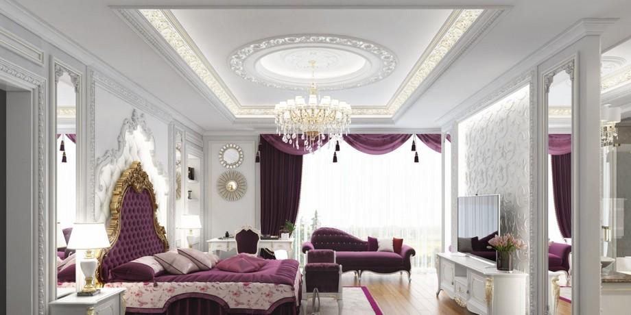 Mẫu trần thạch cao phòng ngủ cho cặp đôi trung niên được trang trí nhũ vàng ở các chi tiết phào trần