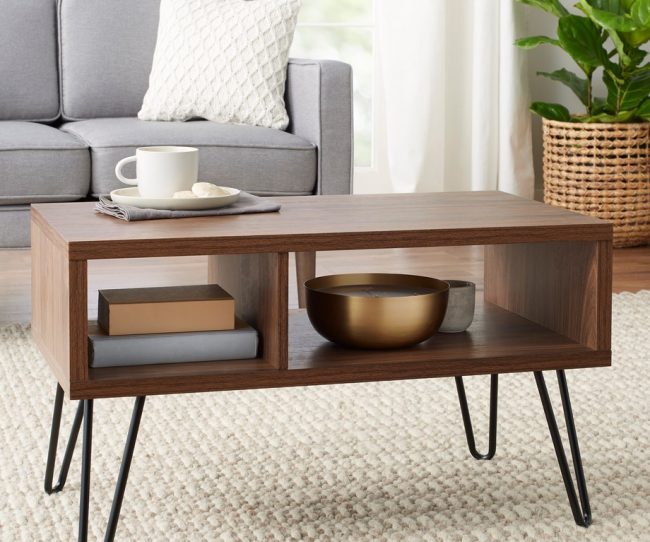 Mẫu bàn trà hai tầng bằng gỗ ép.