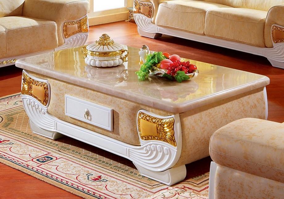 Mẫu bàn trà tân cổ điển bằng gỗ sơn trắng bọc da và mặt bàn đá ấn tượng