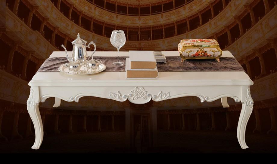Mẫu bàn trà tân cổ điển chân thoáng chạm chắc hoa văn đơn giản