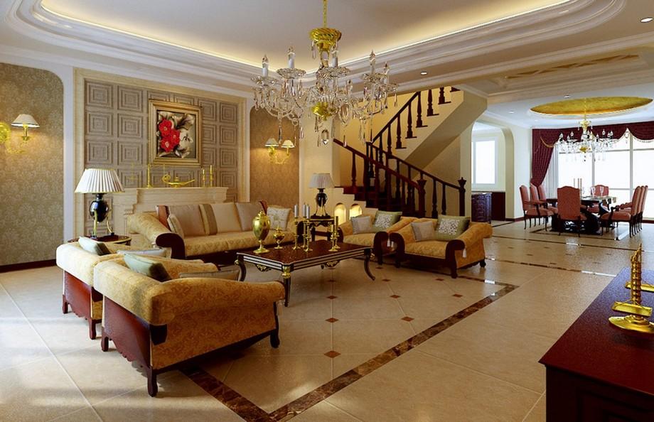 Mẫu thiết kế nội thất nhà đẹp dành cho phòng khách hiện đại với tông màu chủ đạo vàng ấm. Thiết kế thông với không gian bếp
