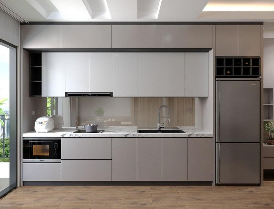 Mẫu tủ bếp đẹp hình chữ I