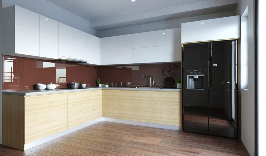 Mẫu tủ bếp đẹp hình chữ L nhà biệt thự