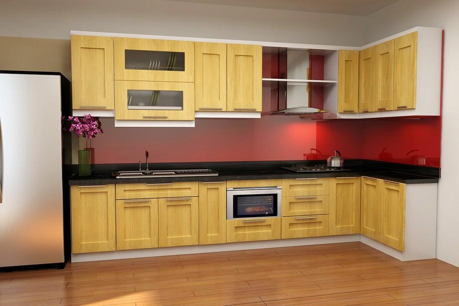 Mẫu tủ bếp đẹp hình chữ L cho chung cư