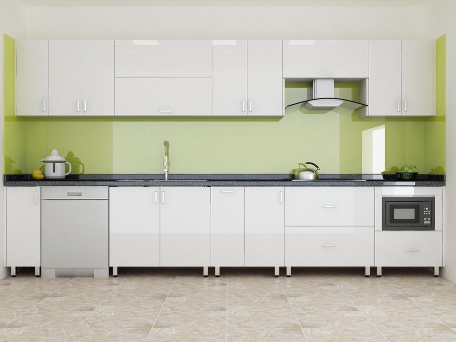 Mẫu tủ bếp đẹp hình chữ I sơn màu trắng