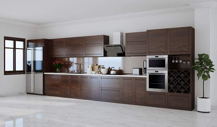 Mẫu tủ bếp đẹp hình chữ I gỗ óc chó sang trọng