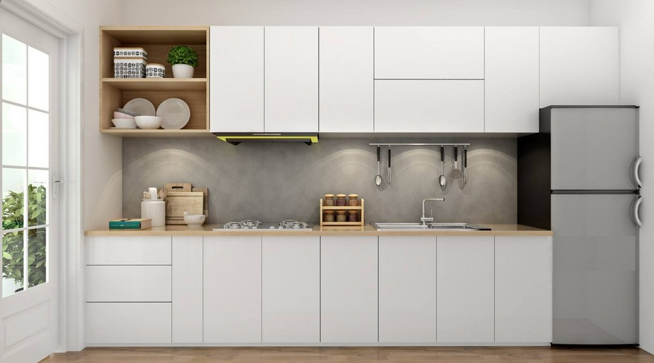 Mẫu tủ bếp đẹp hình chữ I gỗ công nghiệp