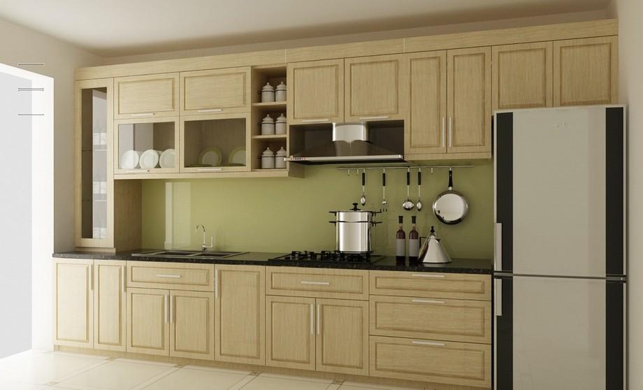 Mẫu tủ bếp đẹp hình chữ I gỗ sồi tự nhiên