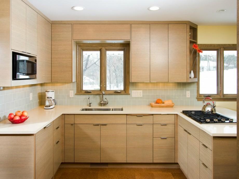 Mẫu tủ bếp đẹp hình chữ U gỗ sồi