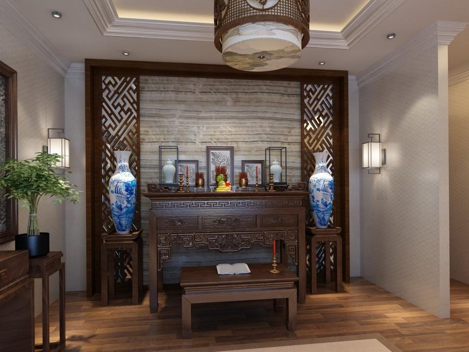 Nội thất phòng thờ cổ làm trần thạch cao giật cấp với ánh sáng hắt dịu nhẹ