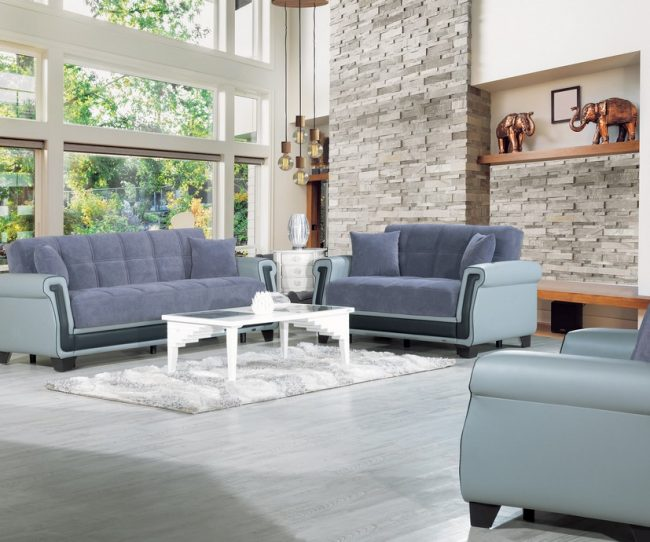 Sofa Châu Âu hiện đại với tông màu xám